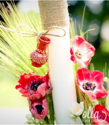 Iubire de-o Viata, lumanari de nunta unicat cu anemone 1