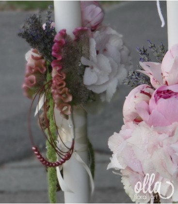 Iubire Pura, lumanari de nunta din hortensii si bujori 2