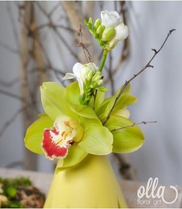 Aranjament primavara cu orhidee si frezii 1