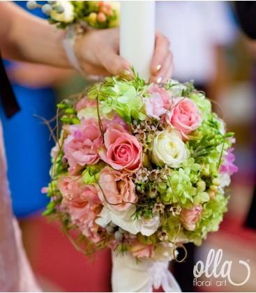 Printesa  Verii, lumanari de nunta din hortensia si trandafiri 0