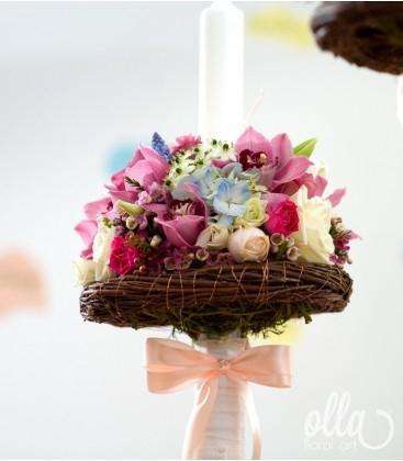 Raiul Colorat, lumanari de nunta din flori multicolore 1