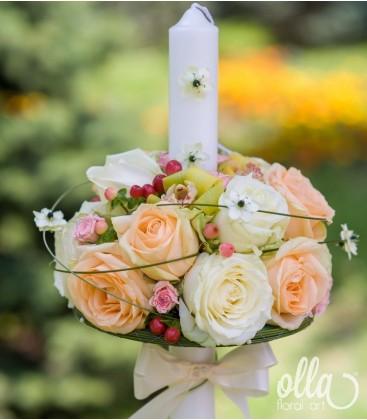 Regina Eleganta, lumanari de nunta din trandafiri si orhidee 0