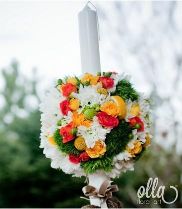 Sclipire de Bucurie, lumanari de nunta portocaliu cu verde [1]