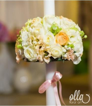 Suflet Delicat, lumanari de nunta din trandafiri ivory 0