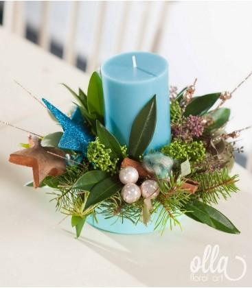 Blue Christmas, aranjament de Craciun cu lumanare si brad0