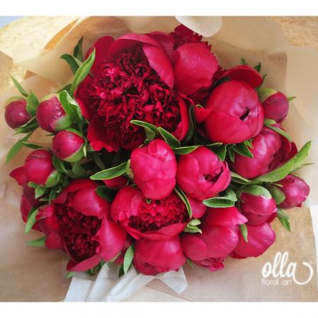 Buchet de flori Olla din Bujori Rosii Red Charm [0]