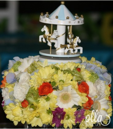 Caruselul Bucuriei, aranjament masa botez0