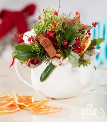 Ceainic cu aromă de portocală, aranjament de Craciun0