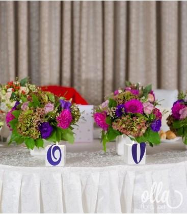 Curcubeul Indraznet, aranjament de masa pentru prezidiu0