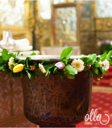 Hora Veseliei, decor floral pentru cristelnita0