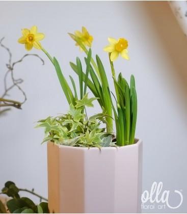 Aranjament floral primavara cu narcise in vas ceramic1