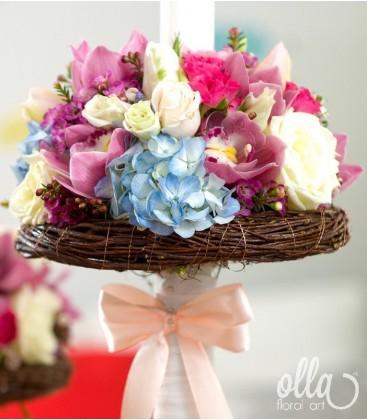 Raiul Colorat, lumanari de nunta din flori multicolore0