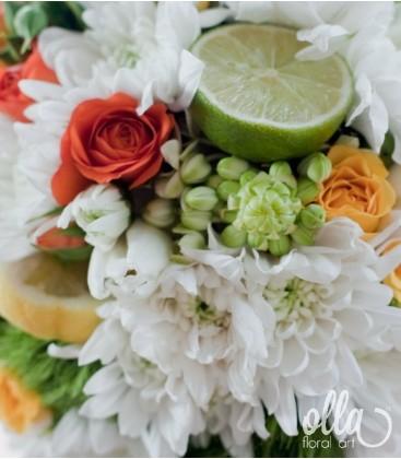Sclipire de Bucurie, lumanari de nunta portocaliu cu verde [2]
