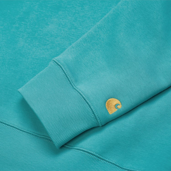 CARHARTT Chase Sweat Frosted Turquoise / Gold 1