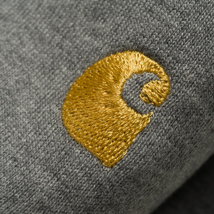 CARHARTT CHASE SWEAT DARK GREY HEATHER / GOLD 1