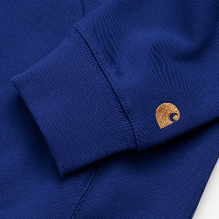 CARHARTT HOODED CHASE SWEAT THUNDER BLUE / GOLD 1