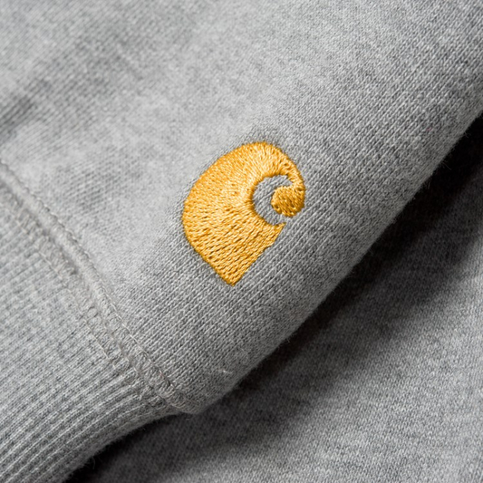 CARHARTT HOODED CHASE SWEAT GREY HEATHER / GOLD 1
