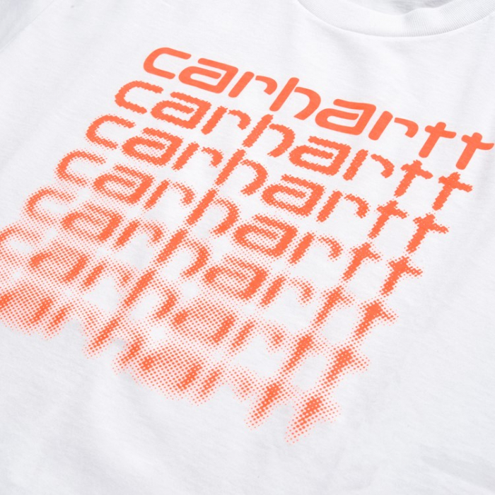 CARHARTT S/S Fading Script T-Shirt White / Pop Coral 1