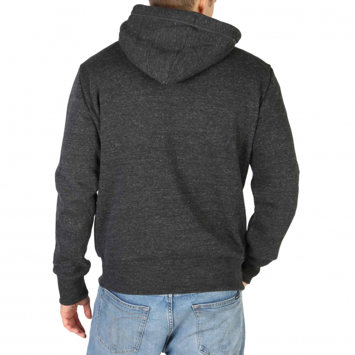 SUPERDRY Orange Label Classic Hoodie Black Snow Heather 1