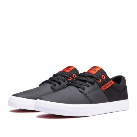SUPRA STACKS VULC II BLACK/RISK RED-WHITE2