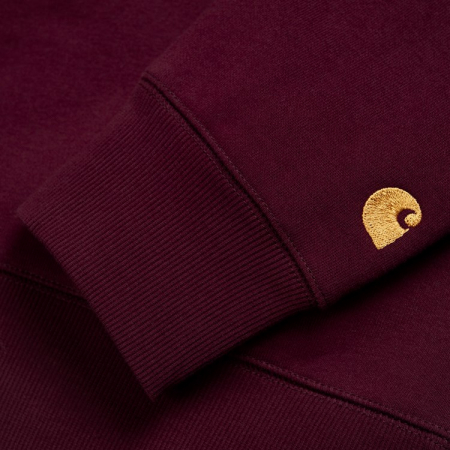 CARHARTT CHASE SWEAT MERLOT / GOLD1
