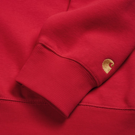 CARHARTT CHASE SWEAT ETNA RED / GOLD2