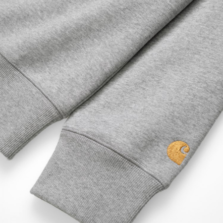 CARHARTT CHASE SWEAT GREY HEATHER / GOLD2
