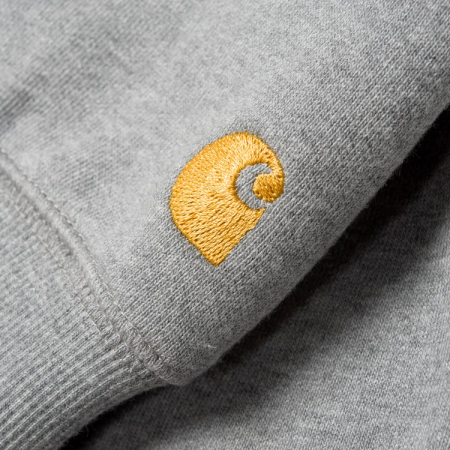 CARHARTT HOODED CHASE SWEAT GREY HEATHER / GOLD1