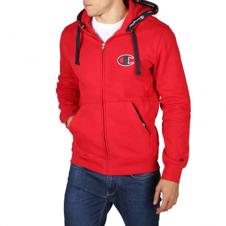 CHAMPION Zip-Up Logo Hooded Sweat 213410 Red0