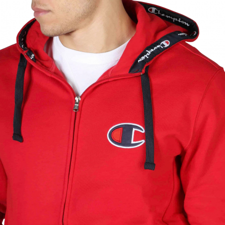 CHAMPION Zip-Up Logo Hooded Sweat 213410 Red2