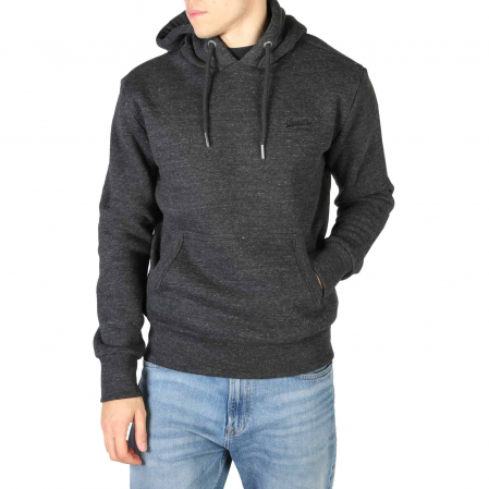 SUPERDRY Orange Label Classic Hoodie Black Snow Heather0
