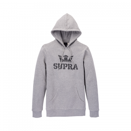 SUPRA ABOVE HOODED PULLOVER HEATHER GREY / GRID0