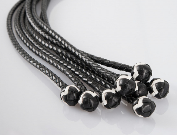 Leather Flogger with Balls 54 cm 1