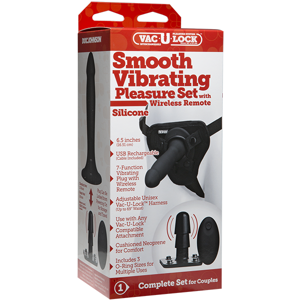 STRAP-ON SMOOTH VIBRATING PLEASURE SET SILICONE