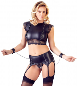 Top and Crotchless Suspender Briefs0