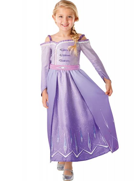 Set costum Disney Printesa Elsa, Regatul de gheață 2, Frozen 2, marime S, 3 - 4 ani si sandalute din cauciuc 1