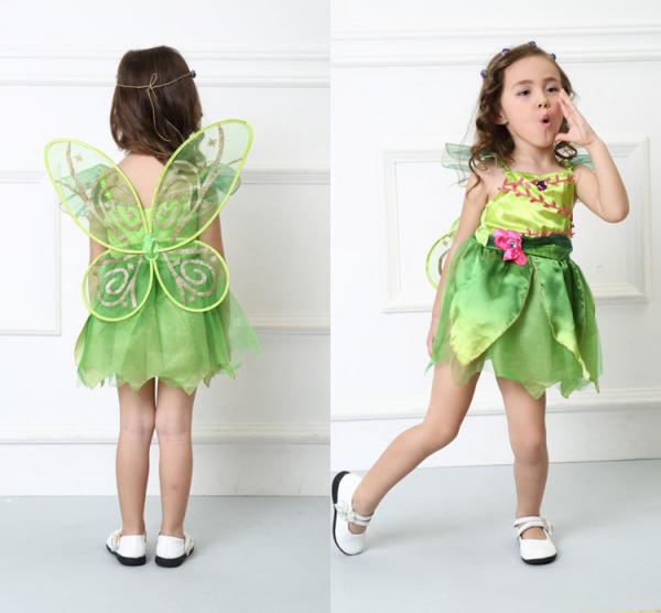Costum carnaval Zana Clopotica, Tinkerbell, pentru copii, S, 110-120 CM, 4 - 6 ani 2