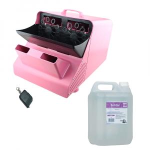Masina de facut baloane, 100w, capacitate 2.5L, roz, cu telecomanda, lichid cadou0
