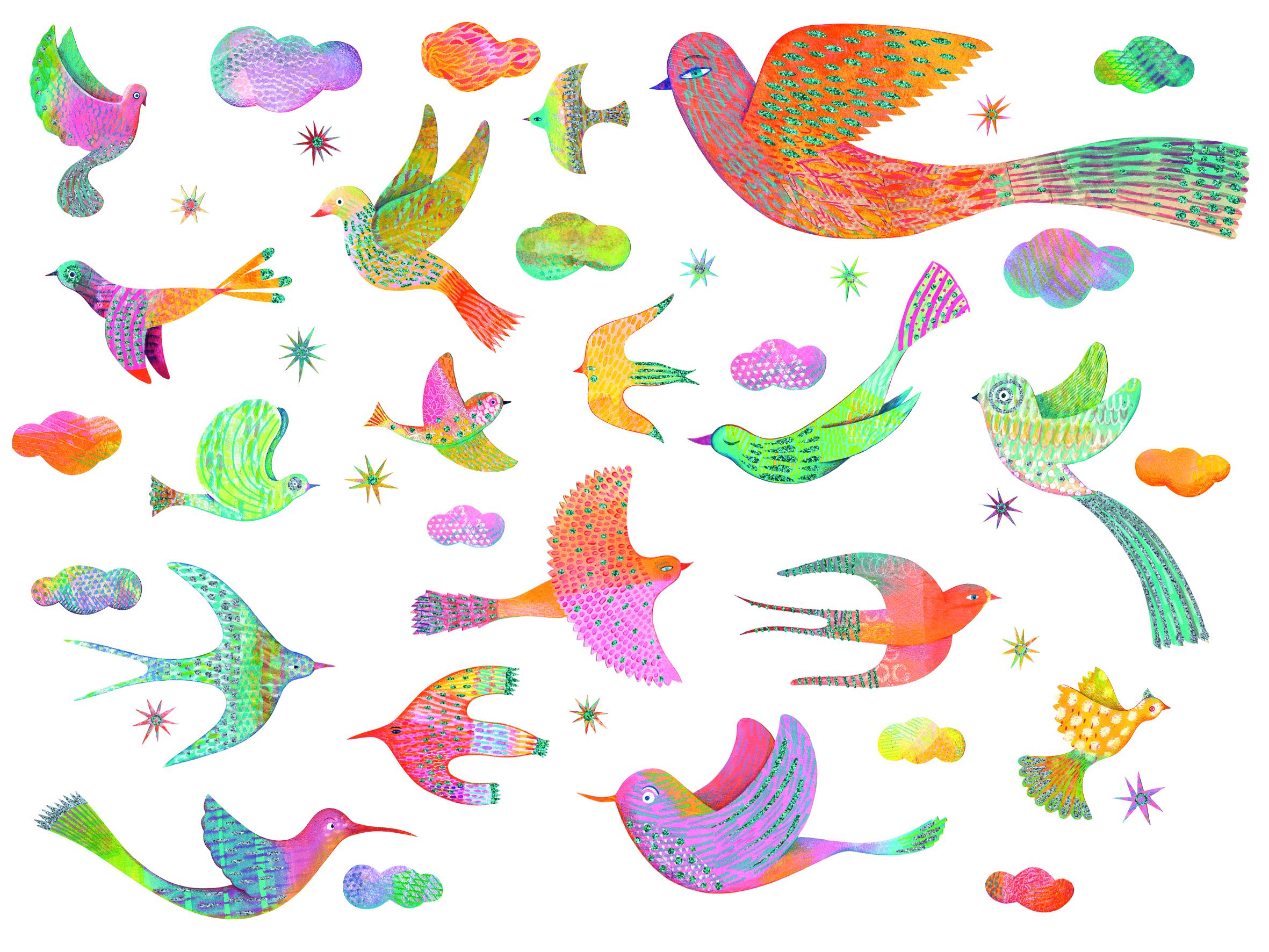 Abțibilduri de perete păsări strălucitoare Djeco 0