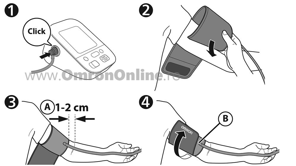 Tensiometru-OMRON-X4-Smart-brat-Intelli-Cuff-Omron-Connect-aplicare-manson