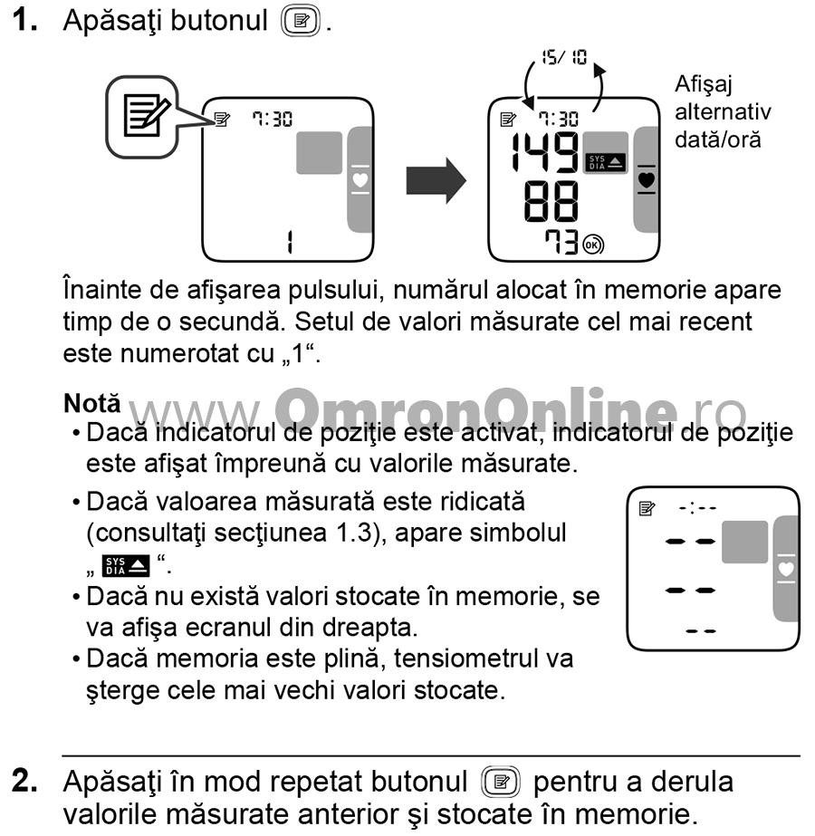 tensiometru-incheietura-OMRON-RS4-vizualizare-memorii