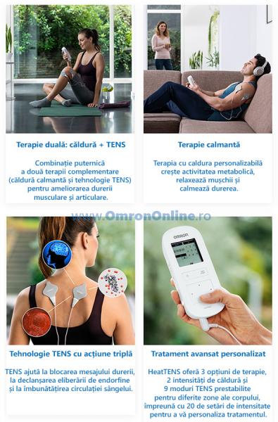Electrostimulator muscular Omron HeatTens, TENS + HEAT (terapie prin caldura), baterie reincarcabila, 3 ani garantie, pentru ameliorarea durerii articulare si musculare [1]