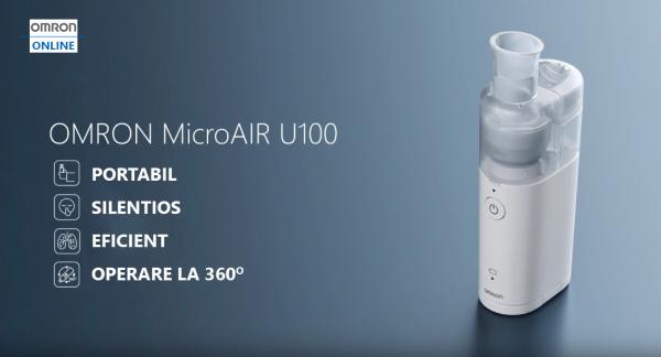 Aparat aerosoli OMRON U100 cu tehnologie MESH (ultrasunete), silentios, portabil, fabricat in Japonia [3]