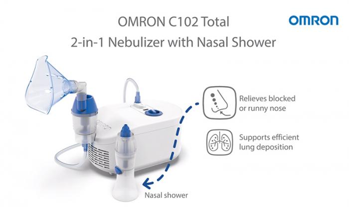 Nebulizator cu compresor Omron C102 Total + irigator nazal, utilizare continua, fabricat in Italia [5]