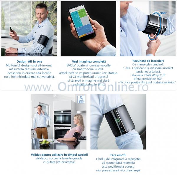 Tensiometru Omron EVOLV digital de brat, manseta inteligenta 22-42 cm, transfer date Bluetooth, fara cabluri, validat clinic, ecran OLED, fabricat in Japonia [3]