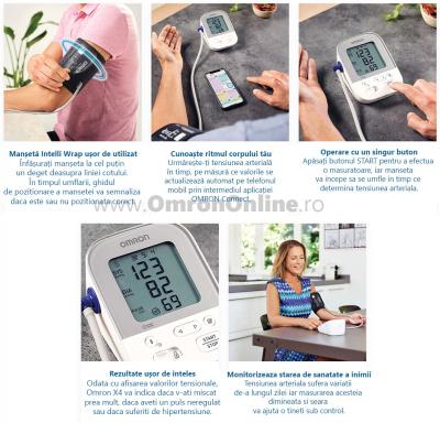 OMRON X4 Smart - Tensiometru de brat, manseta inteligenta Intelli Cuff, transfer date Omron Connect, validat clinic, garantie 3 ani [5]