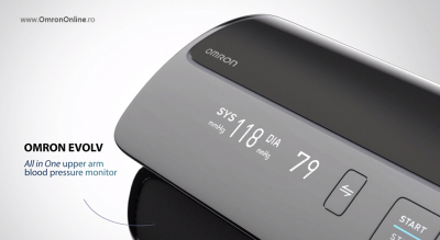 Tensiometru Omron EVOLV digital de brat, manseta inteligenta 22-42 cm, transfer date Bluetooth, fara cabluri, validat clinic, ecran OLED, fabricat in Japonia [12]