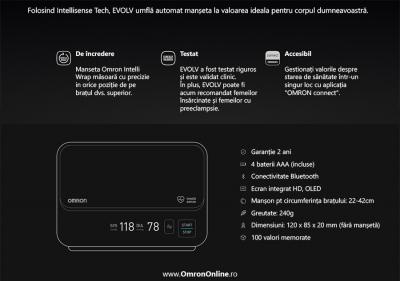 Tensiometru Omron EVOLV digital de brat, manseta inteligenta 22-42 cm, transfer date Bluetooth, fara cabluri, validat clinic, ecran OLED, fabricat in Japonia [5]