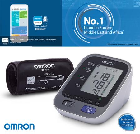 Tensiometru Omron M7 Intelli IT cu Bluetooth - brat, manseta inteligenta, LED-uri avertizare, transfer date catre app Omron Connect, 3 ani garantie [0]