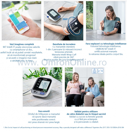 Tensiometru Omron M7 Intelli IT cu Bluetooth - brat, manseta inteligenta, LED-uri avertizare, transfer date catre app Omron Connect, 3 ani garantie [2]
